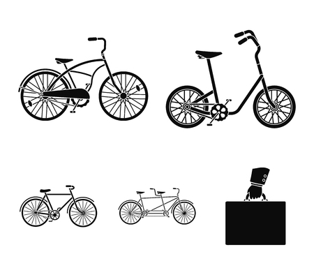Childrens bicycle, a double tandem and other types.Different bicycles set collection icons in black style vector symbol stock illustration web.
