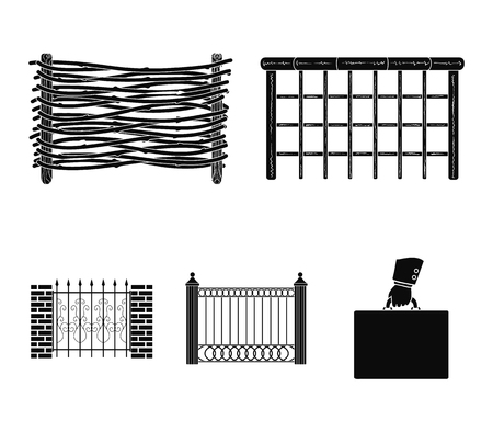 A fence of metal and bricks,wooden palisade. A different fence set collection icons in black style vector symbol stock illustration web.