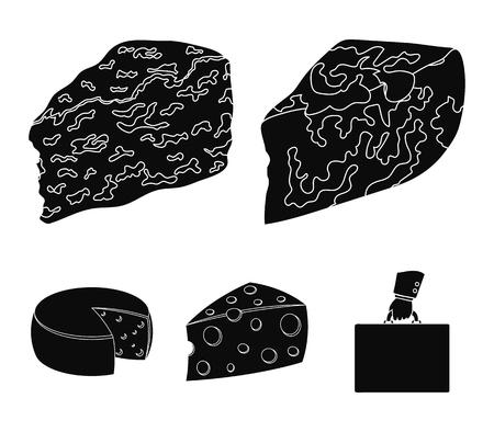パルメザン、ロケフォート、マースダム、ガウダ。ブラックスタイルベクターシンボルストックイラストウェブのチーズセットコレクションアイコンの異なるタイプ。 写真素材 - 95825355