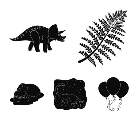 Sea dinosaur,triceratops, prehistoric plant, human skull. Dinosaur and prehistoric period set collection icons in black style vector symbol stock illustration web.