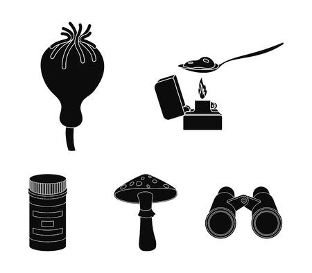 Heroin in a spoon, mushroom galyutsinogenny, opium poppy, tablets.Drugs set collection icons in black style vector symbol stock illustration web.