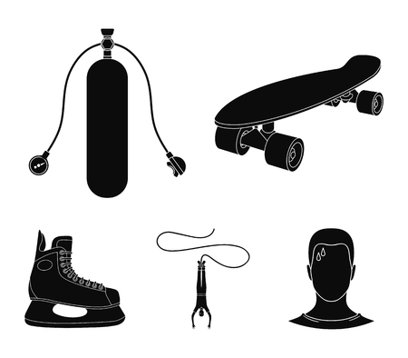 Skateboard, oxygen tank for diving, jumping, hockey skate.Extreme sport set collection icons in black style vector symbol stock illustration web. Stock Illustratie