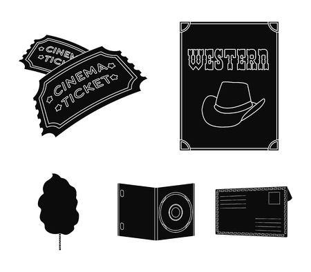 Western cinema, tickets, sweet cotton wool, film on DVD.Filmy and cinema set collection icons in black style vector symbol stock illustration web.