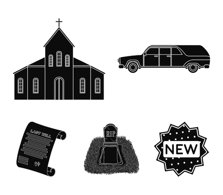 Black car to transport the grave of the deceased, a church for a funeral ceremony, a grave with a tombstone, a death certificate. Funeral ceremony set collection icons in black style vector symbol stock illustration web.