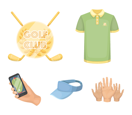 Emblem of the golf club, cap with a visor, golfer shirt, phone with a navigator.Golf club set collection icons in cartoon style vector symbol stock illustration web.