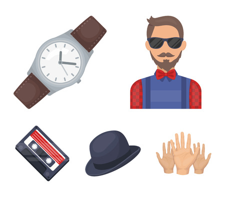 Hipster style set collection icons in cartoon style vector symbol stock illustration web.