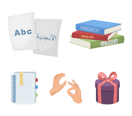 A pile of books in different languages, sheets of paper with translation, a gesture of deaf mutes, a notebook with text. Interpreter and translator set collection icons in cartoon style vector symbol stock illustration web. Stock Illustratie