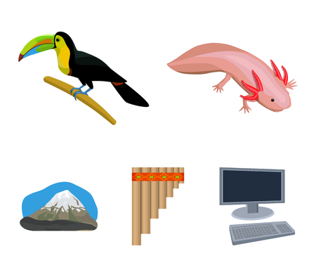 Sampono Mexican musical instrument, a bird with a long beak, Orizaba is the highest mountain in Mexico, axolotl is a rare animal. Mexico country set collection icons in cartoon style vector symbol stock illustration web.