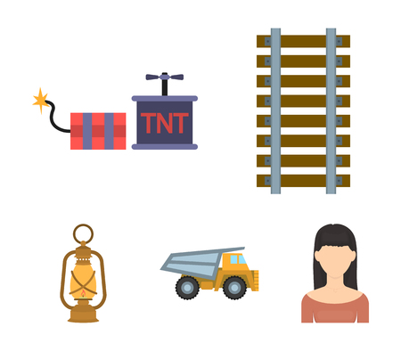 Ryllsy,vzryvchatka, dumper, lantern.Mine set collection icons in cartoon style vector symbol stock illustration web. Illustration