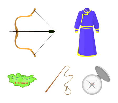 .mongol dressing gown, battle bow, theria on the map, Urga, Khlyst. Mongolia set collection icons in cartoon style vector symbol stock illustration web. Ilustrace