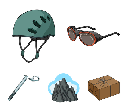 Helmet, goggles, wedge safety, peaks in the clouds.Mountaineering set collection icons in cartoon style vector symbol stock illustration web.