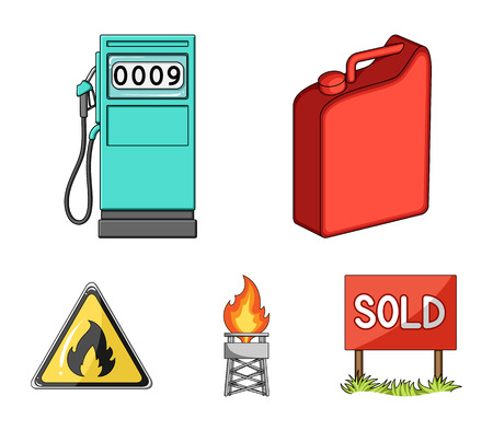 Canister for gasoline, gas station, tower, warning sign. Oil set collection icons in cartoon style vector symbol stock illustration web. Иллюстрация