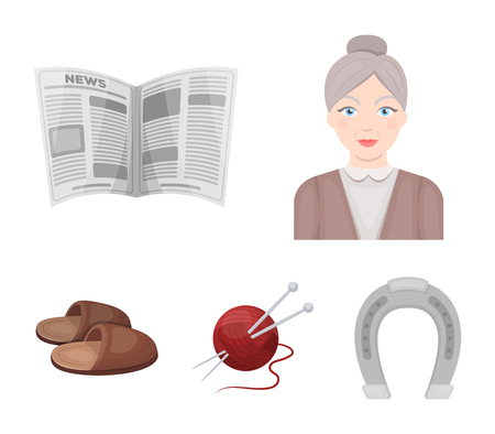 An elderly woman, slippers, a newspaper, knitting.Old age set collection icons in cartoon style vector symbol stock illustration web.