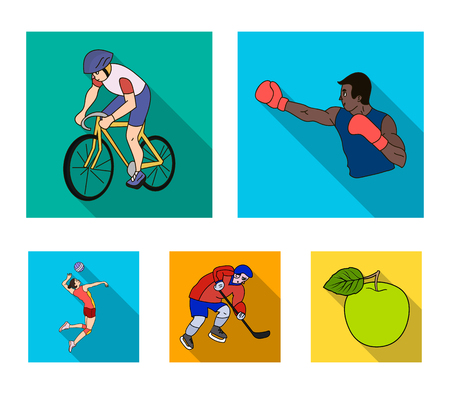 Cycling, boxing, ice hockey, volleyball.Olympic sport set collection icons in flat style vector symbol stock illustration web. Illustration