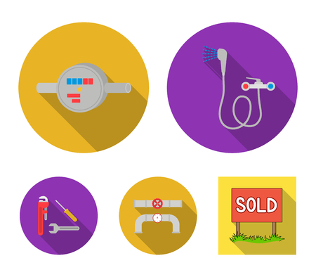 Shower, faucet, water meter and other equipment.Plumbing set collection icons in flat style vector symbol stock illustration web.