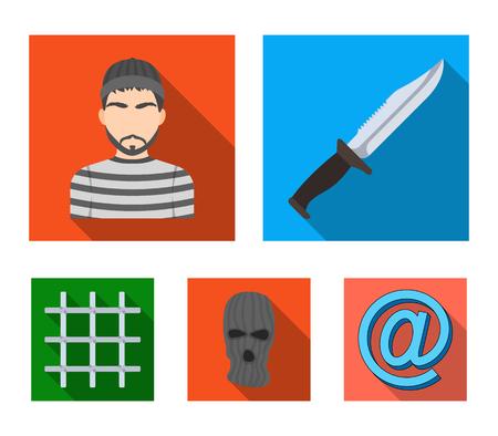 Knife, prisoner, mask on face, steel grille. Prison set collection icons in flat style vector symbol stock illustration web.