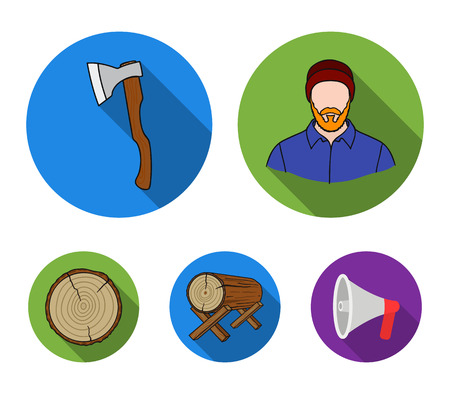 Carpenter, log on supports, ax, cut logs. Sawmill and timber set collection icons in flat style vector symbol stock illustration web. Ilustrace