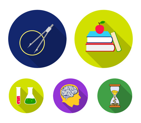 Books, an apple, a mans head with a brain, test tubes with a reagent, a compass with a circle. School set collection icons in flat style vector symbol stock illustration web. Illustration