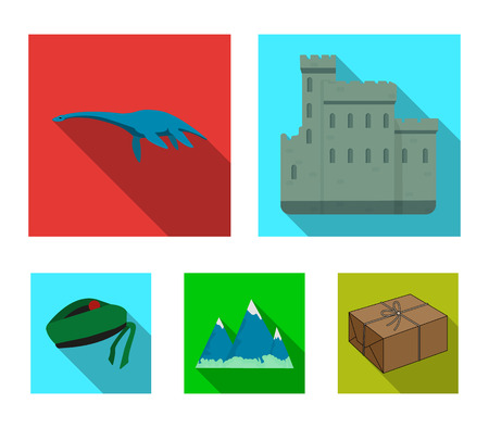 Edinburgh Castle, Loch Ness Monster, Grampian Mountains, national cap balmoral,tam o'shanter. Scotland set collection icons in flat style vector symbol stock illustration web. Çizim