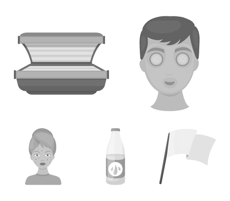 Face mask, solarium, bottle ts lasenom, pimples on face. Skin Care set collection icons in monochrome style vector symbol stock illustration web. Stock Illustratie