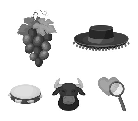 The hat of the todeador, the matador, a bunch of grapes with fists, a bull for the Spanish bullfight, a tambourine. Spain country set collection icons in monochrome style vector symbol stock illustration web.