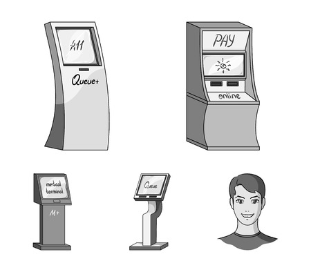 Terminals set collection icons in monochrome style isometric vector