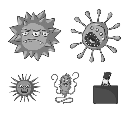 Viruses and bacteria set collection icons in monochrome style vector