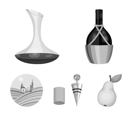Wine production set collection icons in monochrome style vector Çizim