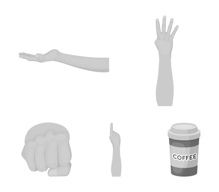 Sign Language monochrome icons in set collection for design. Illustration