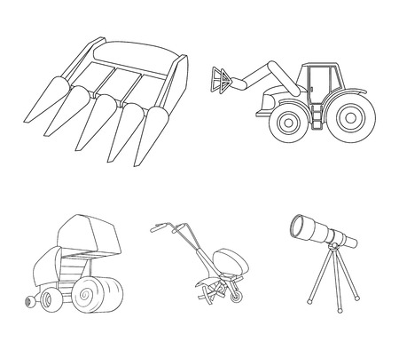 Agricultural machinery set collection icons in outline style vector
