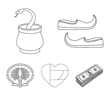 Arab emirates set collection icons in outline style vector