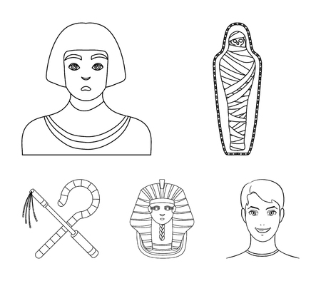 Ancient Egypt set collection icons in outline style vector
