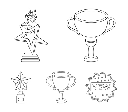 Awards and trophies set collection icons in outline style vector