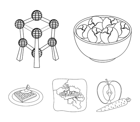Belgium set collection icons in outline style vector