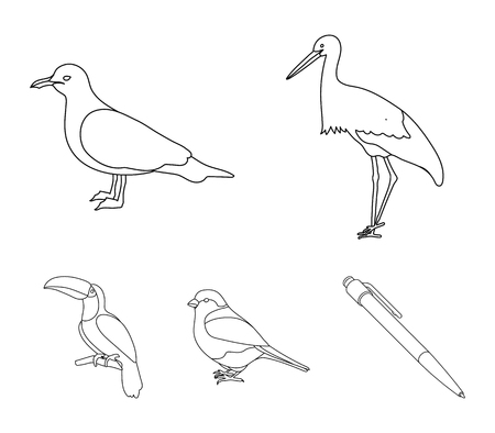 Birds set collection icons in outline style vector Vektorové ilustrace