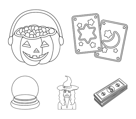 Black and white magic set collection icons in outline style vector Ilustração