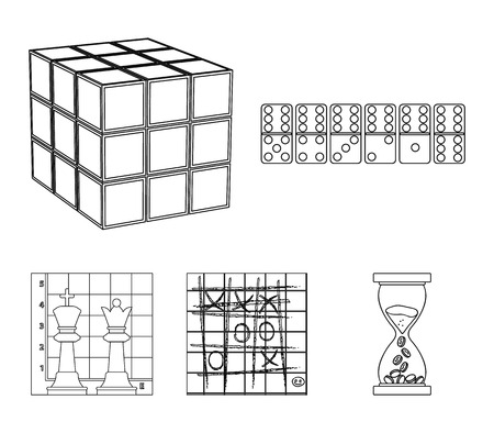 Board game outline icons in set collection for design.