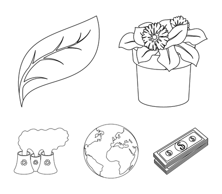 Bio and ecology set collection icons in outline style vector