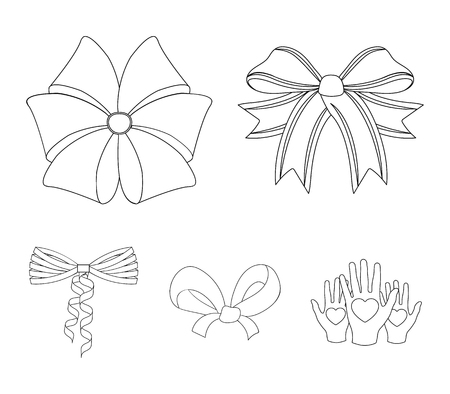 Bow, ribbon, decoration, and other web icon in set collection.