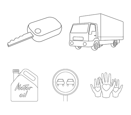 Vehicle set collection icons in outline style vector