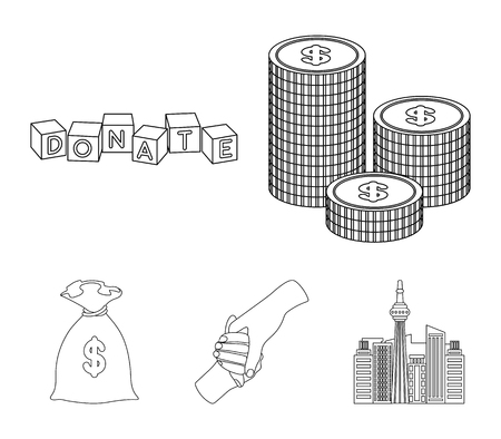 Charity and donation set collection icons in outline style Illustration