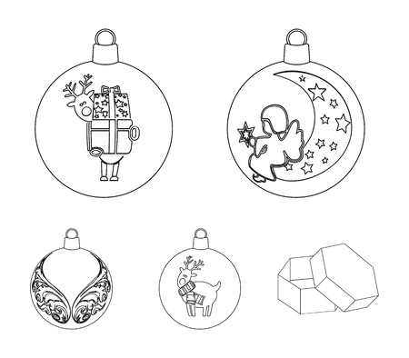 New Years Toys outline icons in set collection for design.Christmas balls for a treevector symbol stock web illustration.  イラスト・ベクター素材