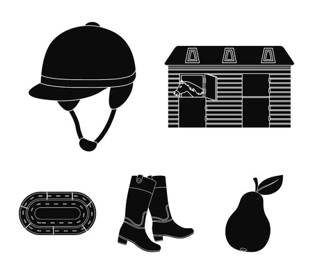 Boots, grass, stadium, track, rest . Hippodrome and horse set collection icons in black style vector symbol stock illustration web.