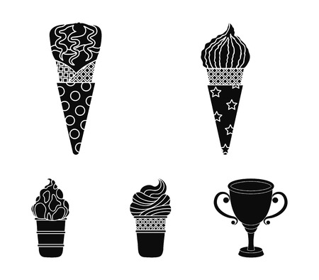 Ice cream on a stick, in a waffle cone and other species. Ice cream set collection icons in black style vector symbol stock illustration web. Vettoriali