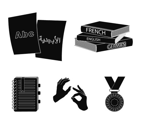 A pile of books in different languages, sheets of paper with translation, a gesture of deaf mutes, a notebook with text. Interpreter and translator set collection icons in black style vector symbol stock illustration web.