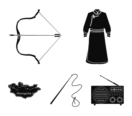 Mongolia set collection icons in black style vector symbol stock illustration web.