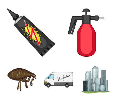 Flea, special car and equipment cartoon icons in set collection for design. Pest Control Service vector symbol stock web illustration. Illustration