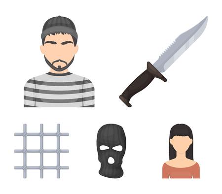 Knife, prisoner, mask on face, steel grille. Prison set collection icons in cartoon style vector symbol stock illustration web. Çizim