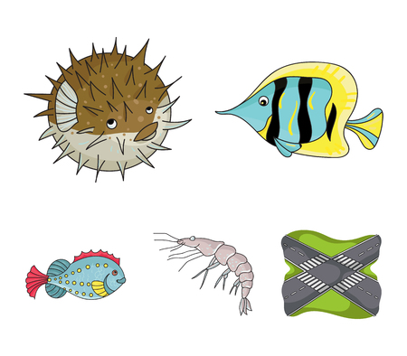 Shrimp, fish, hedgehog and other species.Sea animals set collection icons in cartoon style vector symbol stock illustration . Ilustração