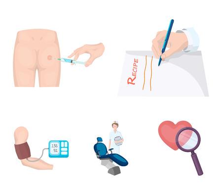 Intramuscular injection, prescription, Dentist, blood pressure measurement. Medicineset collection icons in cartoon style vector symbol stock illustration web. Illustration